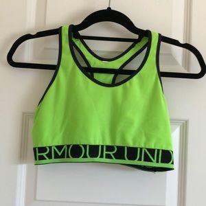 Neon green Under Armour Sports Bra